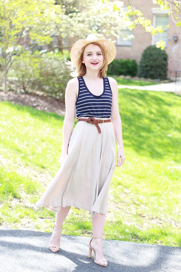 Poor Little It Girl - Gap Navy & White Striped Tank, Madewell Midi Skirt, Zara Nude Ankle Strap Heels and Greenpacha Panama Hat