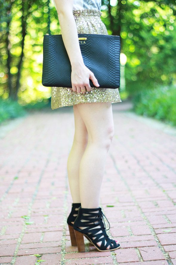Poor Little It Girl - J.Crew Gold Sequin Mini Skirt, Club Monaco Horse Tee and MIA at Piperlime Black Lace Up Heels