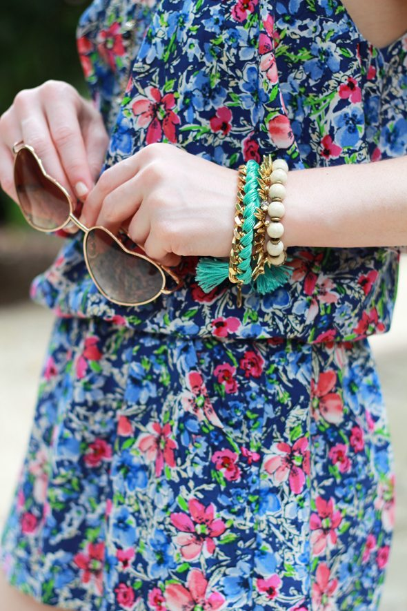 Poor Little It Girl - Nordstrom Rack Floral Romper and Tan Sandals #ShopGenius