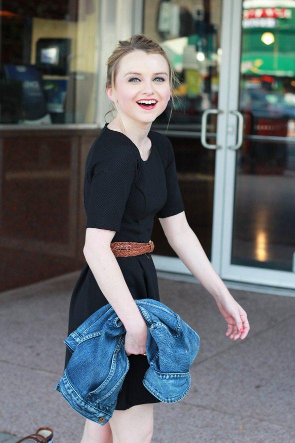 Poor Little It Girl - ASOS Black Skater Dress and Madewell Denim Vest