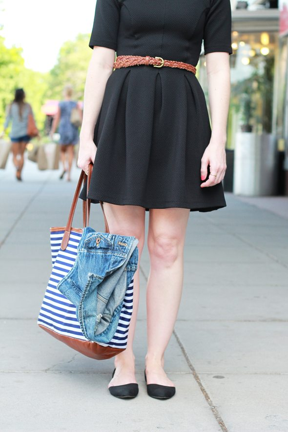Poor Little It Girl - ASOS Black Skater Dress and Madewell Denim Vest