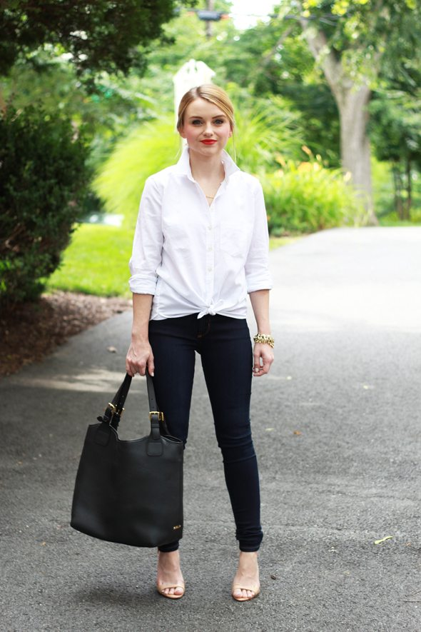 Poor Little It Girl - Gap White Button Down, James Jeans Twiggyy Leggings, Gigi New York Black Shopper Bag