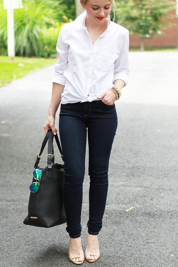 Poor Little It Girl - Gap White Button Down, James Jeans Twiggyy Leggings, Gigi New York B