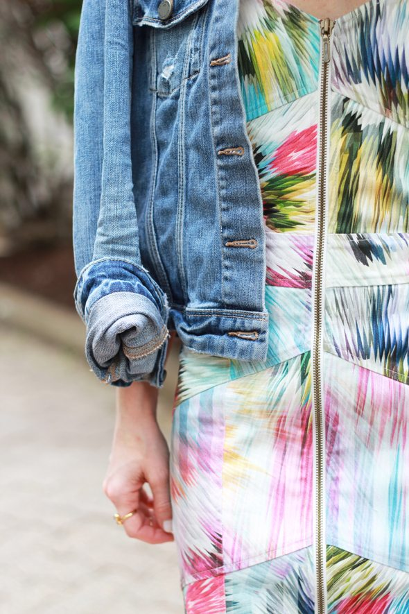 Poor Little It Girl - Nicole Miller Artelier Flower Denim Dress and Paige Denim Jacket