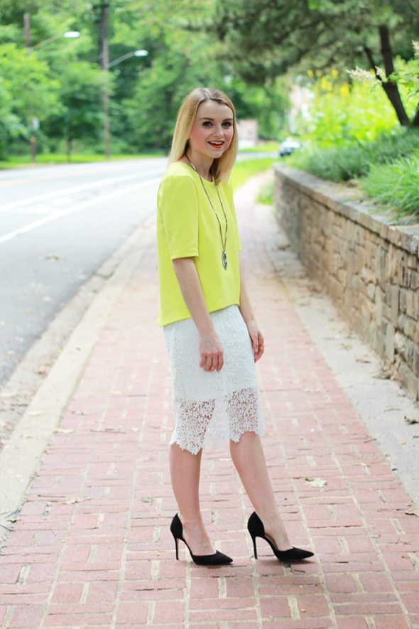 Poor Little It Girl - ASOS Neon Top, Chicwish White Crochet Skirt and ZARA Black Pumps