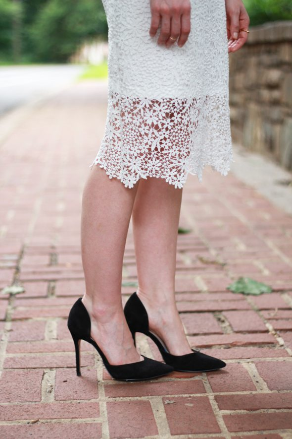 Poor Little It Girl - ASOS Neon Top, Chicwish White Crochet Skirt and ZARA Black Pumps