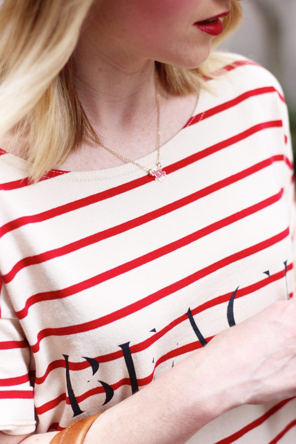 Poor Little It Girl - Keds via DSW, Madewell Red and White Striped Shirt, Koral Black Skinny Jeans #DSWShoeHookUp