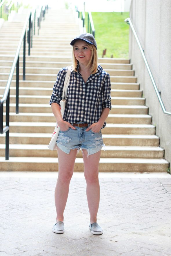 Poor Little It Girl - Roxy Slip-Ons via DSW, J.Crew Navy Gingham Shirt, American Eagle Outfitters Denim Shorts