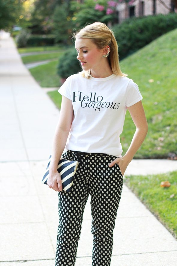 "Poor Little It Girl - T+J Designs ""Hello Gorgeous"" T-shirt and Winged Ear Cuff"