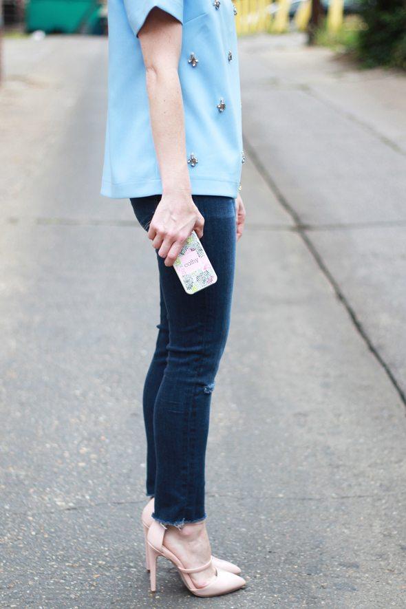 Poor Little It GIrl - Chicwish Embellished Blue Top, Paige Denim Destructed Denim and ASOS Blush Heels