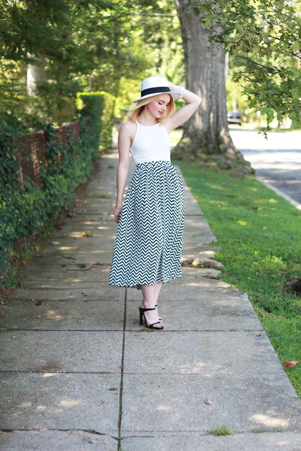 Poor Little It Girl - Piperlime Chevron Skirt, ASOS White Peplum Blouse and David & Young Panama Hat