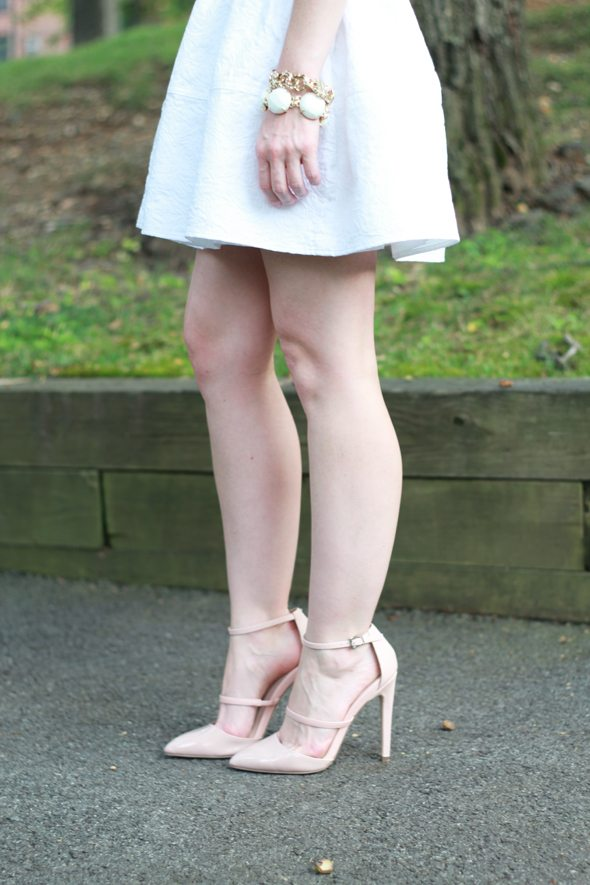 Poor Little It Girl - Express White Jacquard Mini Skirt, Gap Slub Sweater and ASOS Blush Heels
