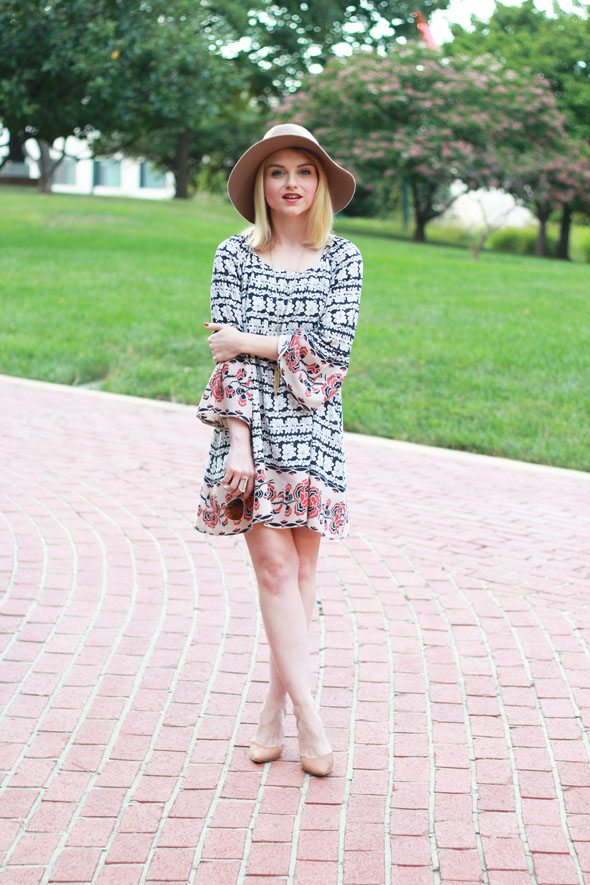 Poor Little It Girl - Chicwish Boho Dress, Express Tan Hat, Kendra Scott Deep Red Long Necklace and Forever 21 Tan Slingback Heels