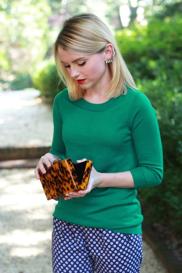 Poor Little It Girl - J.Crew Kelly Green Sweater and Printed Turner Pants