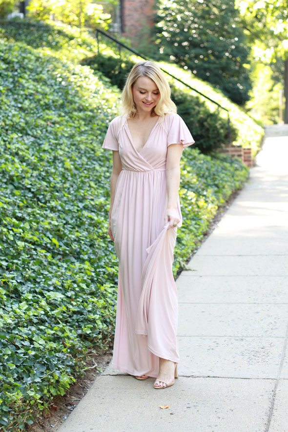 Poor Little It Girl - ASOS Blush Maxi Dress and Sweet & Spark Gold Earrings