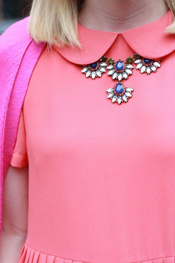 Poor Little It Girl - Girl On Film Orange Peter Pan Collar Pleated Dress at ASOS - Pink and Orange