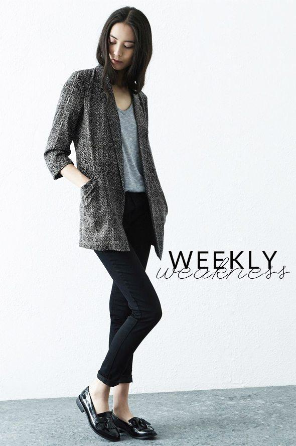Weekly Weakness - Warehouse Grey Herringbone Longline Jacket