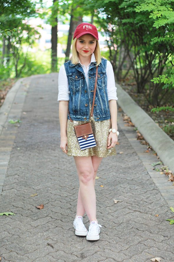 Poor Little It Girl - #SeminoleStyle J.Crew Gold Sequin Skirt, Gap White Button Down and Madewell Denim Vest