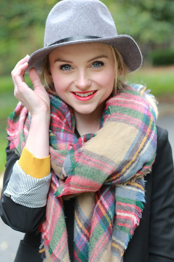 Poor Little It Girl - Nordstrom Rack Fall Fashion - Plaid Scarf, Riding Boots and Black Blazer