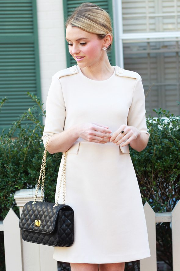 Poor Little It Girl - Ivory Dress, Black Quilted Bag, Leopard Pumps