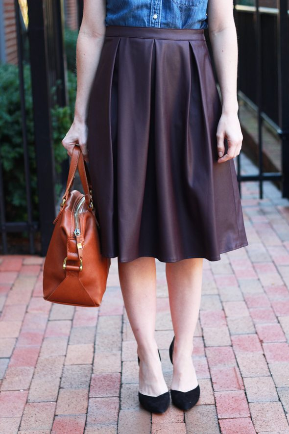 Poor Little It Girl - J.Crew Chambray Shirt, Dorothy Perkins Wine Faux Leather Midi Skirt, Baublebar Statement Necklace