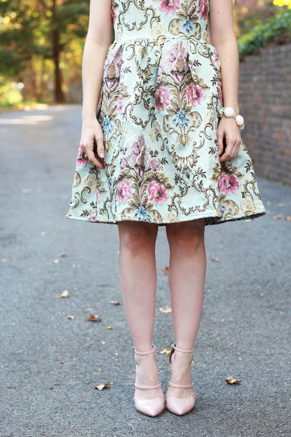 Poor Little It Girl - Floral Embroidered Dress and Blush Strappy Heels