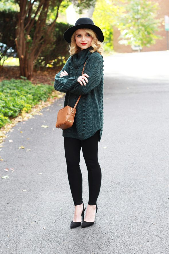 ... It Girl - Green Oversized Sweater, Black Leggings and Black Wool Hat