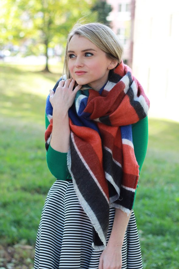 Poor Little It Girl - Black and White Striped Midi Skirt, Green Sweater and Striped Blanket Scarf