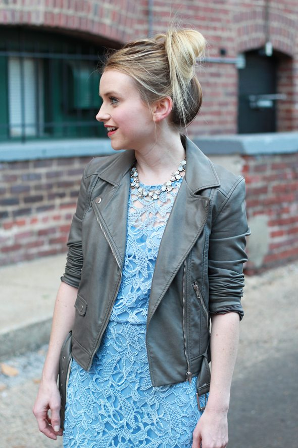 Poor Little It Girl - Blue Lace Dress, Gray Leather Jacket and Silver Heels
