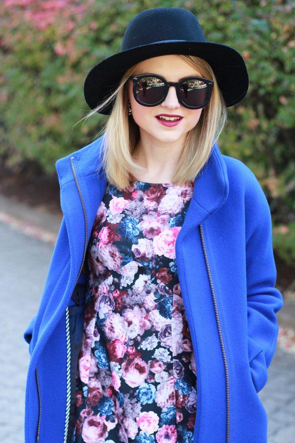 "Poor Little It Girl - J.Crew Cocoon Coat, Dorothy Perks Dark Floral Printed Mini Dress and Karen Walker ""Super Duper"" Sunglasses"