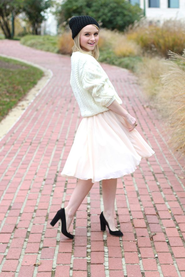 Poor Little It Girl - White Cable Knit Sweater, Pink Chiffon Skirt and Black Beanie
