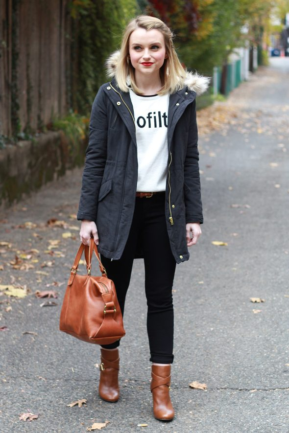 Poor Little It Girl - Navy Parka, Black Skinny Jeans and Tan Boots