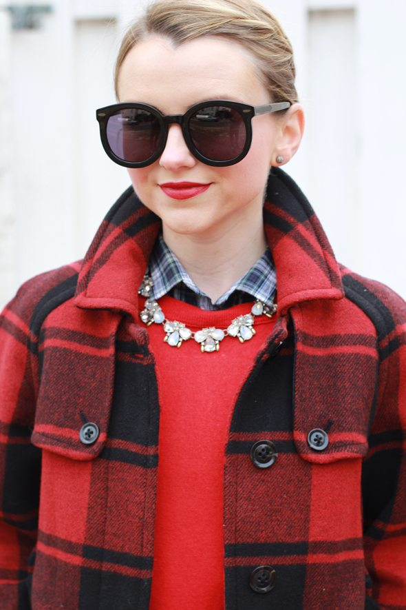 Poor Little It Girl - Red Buffalo Check Coat, Navy Skater Skirt, Red Sweater and Black Sunglasses