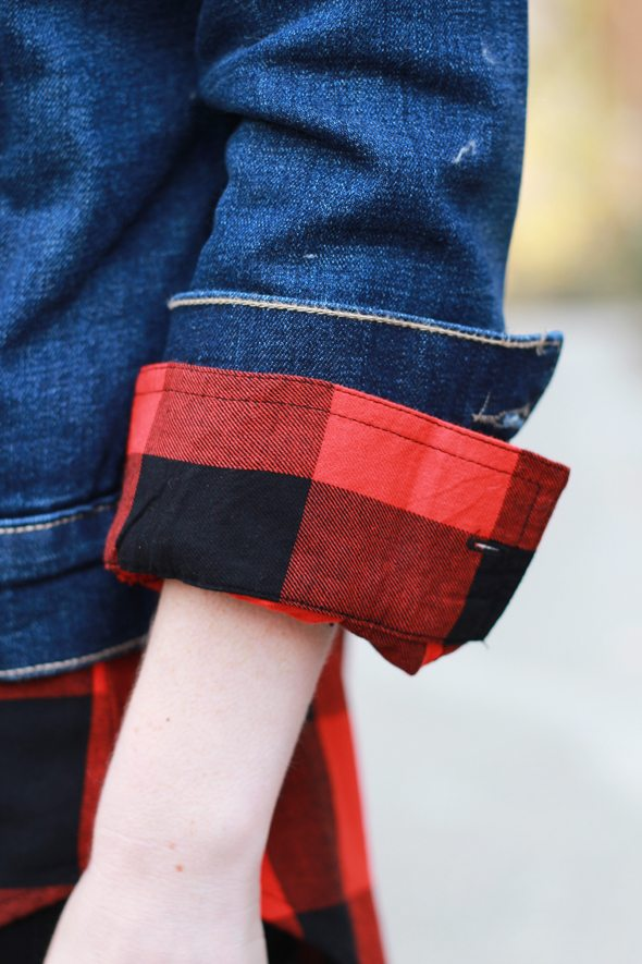 Poor Little It Girl - Old Navy Winter Wish List - Red Buffalo Check Shirt and Sherpa Denim Jacket