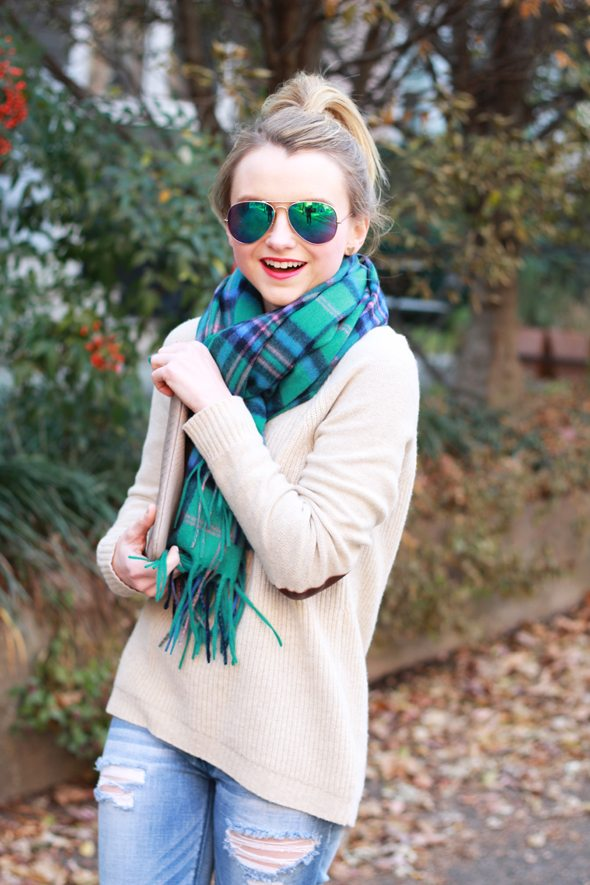Poor Little It Girl - Plaid Scarf and Distressed Denim - @poorlilitgirl