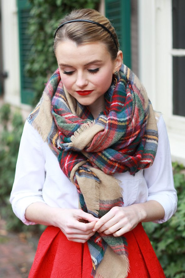Poor Little It Girl - Red Midi Skirt with Oversized Plaid Blanket Scarf
