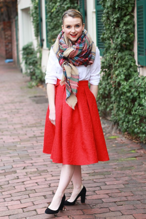 Red Midi Skirt And The Perfect Blanket Scarf - Poor Little It Girl