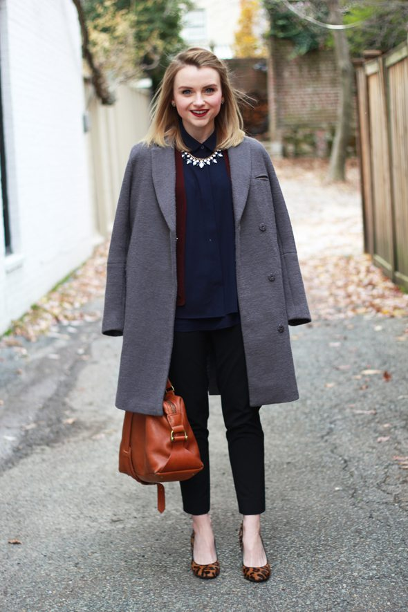 Poor Little It Girl - Gray Oversized Coat, Navy Silk Blouse, Black Crop Pants and Leopard Pumps