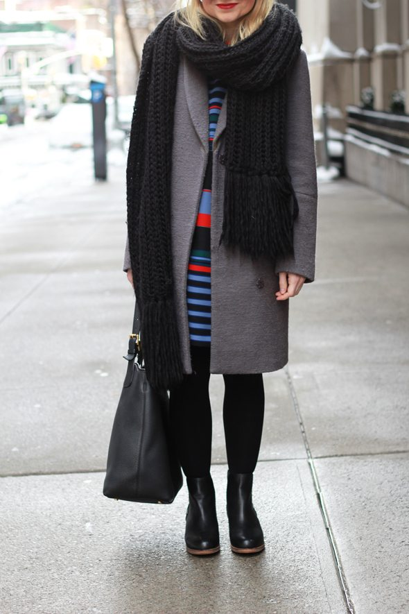 Poor Little It Girl - Striped Shift Dress, Gray Coat and Oversized Scarf
