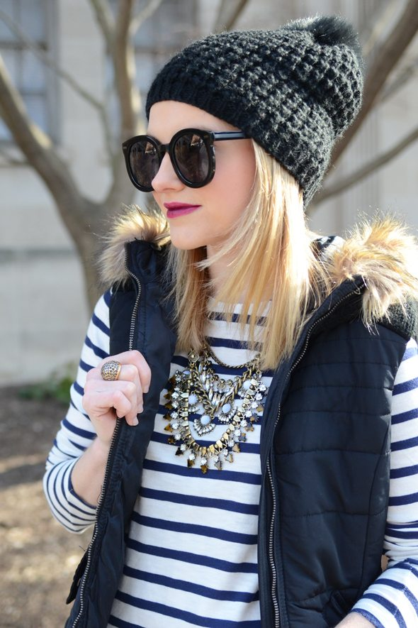 Poor Little It Girl - Striped Tee and Black Puffer Vest