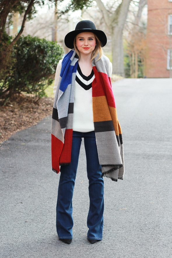 Poor Little It Girl - Flare Jeans, V-Neck Sweater and Colorblock Oversized Scarf