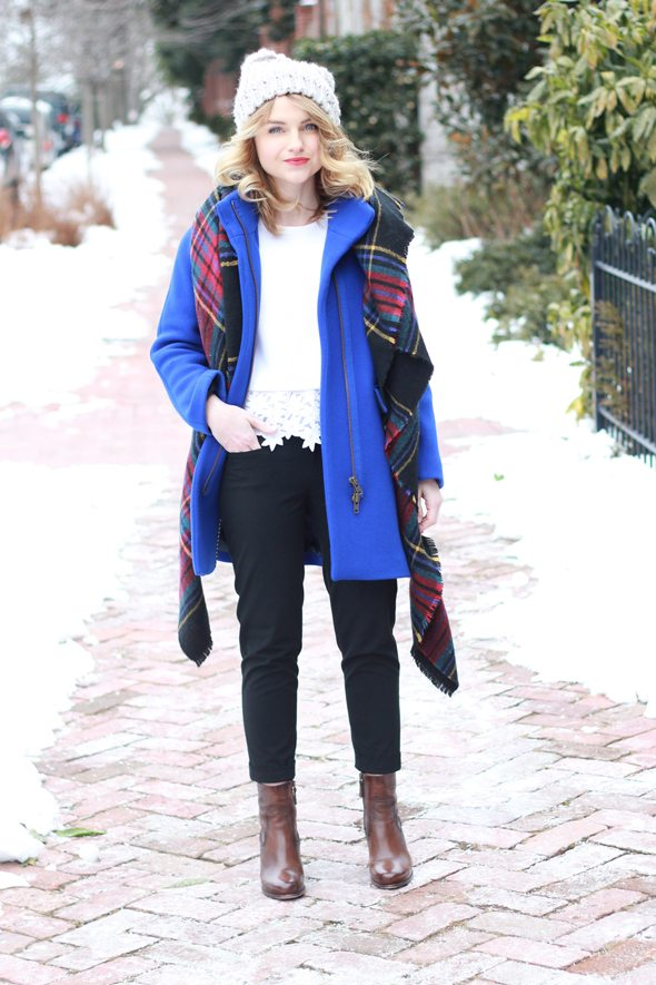 Blue Coat And Plaid Blanket Scarf Poor Little It Girl