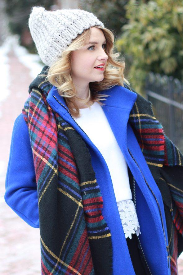 Poor Little It Girl -Eyelet Sweater, Cobalt Blue Coat and Plaid Blanket Scarf