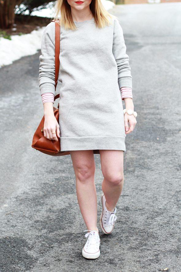 Poor Little It Girl - Sweatshirt Dress and Converse Sneakers