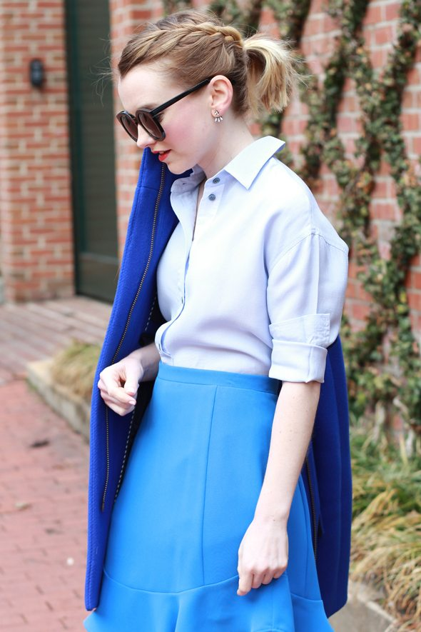 Poor Little It Girl - Bold Blue Skirt and Braids