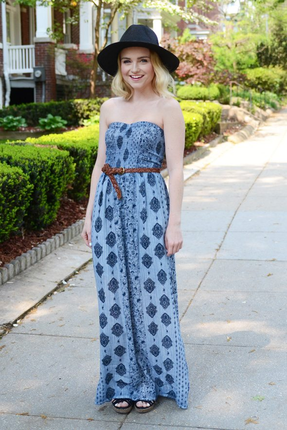 American Eagle Outfitters Blue Maxi Dress at @poorlilitgirl