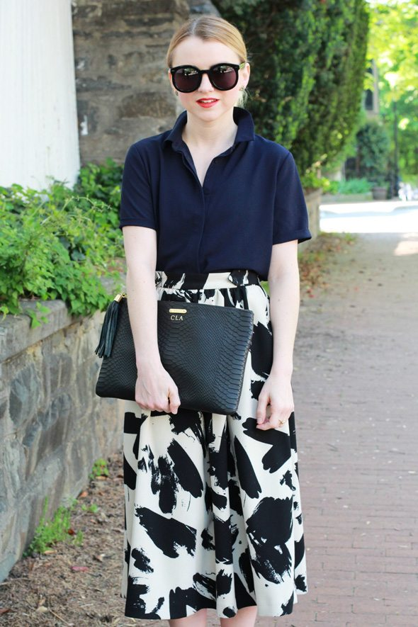 Black and White Midi Skirt - via @poorlilitgirl