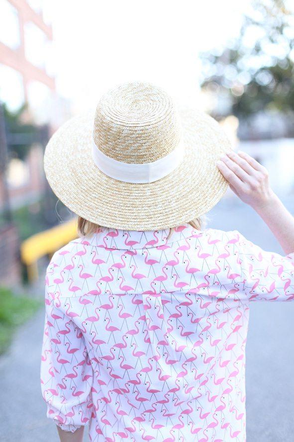 Flamingo Print Blouse and White Jeans - via @poorlilitgirl
