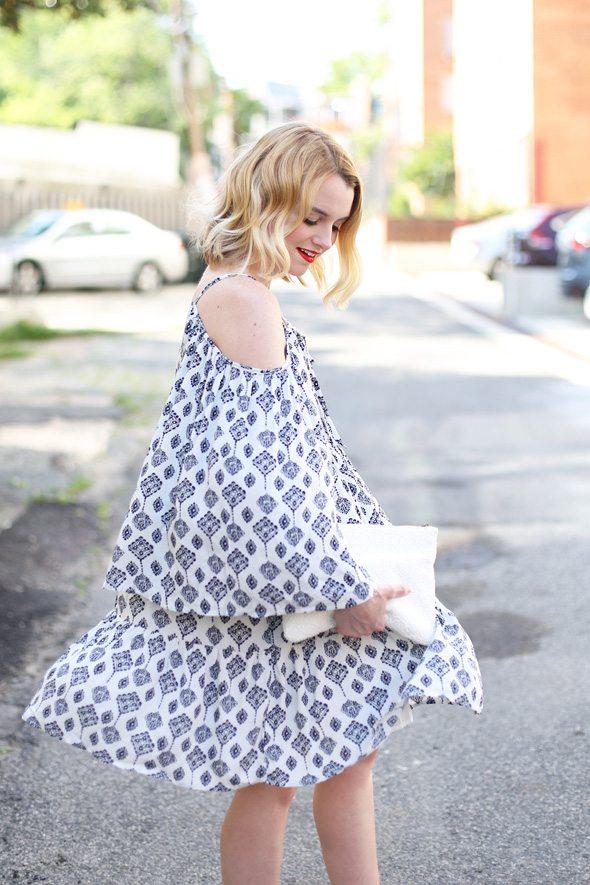 Cold Shoulder Printed Mini Dress - via @poorlilitgirl
