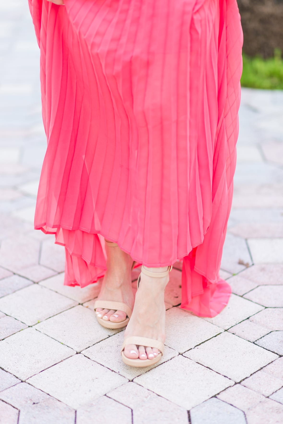 Pink Pleated Maxi Dress with Poor Little It Girl - via @poorlilitgirl